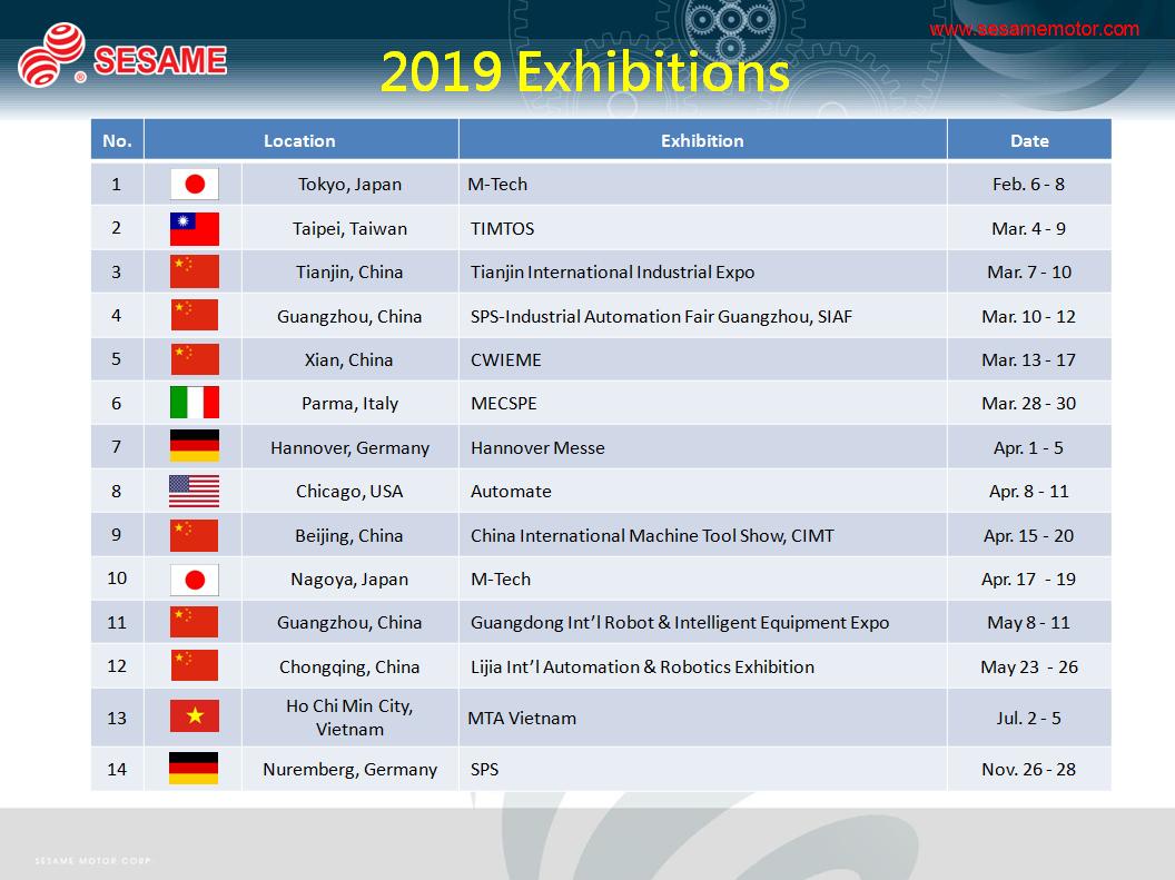 2019 Exhibition List - Exhibitions - News - SESAME MOTOR CORP